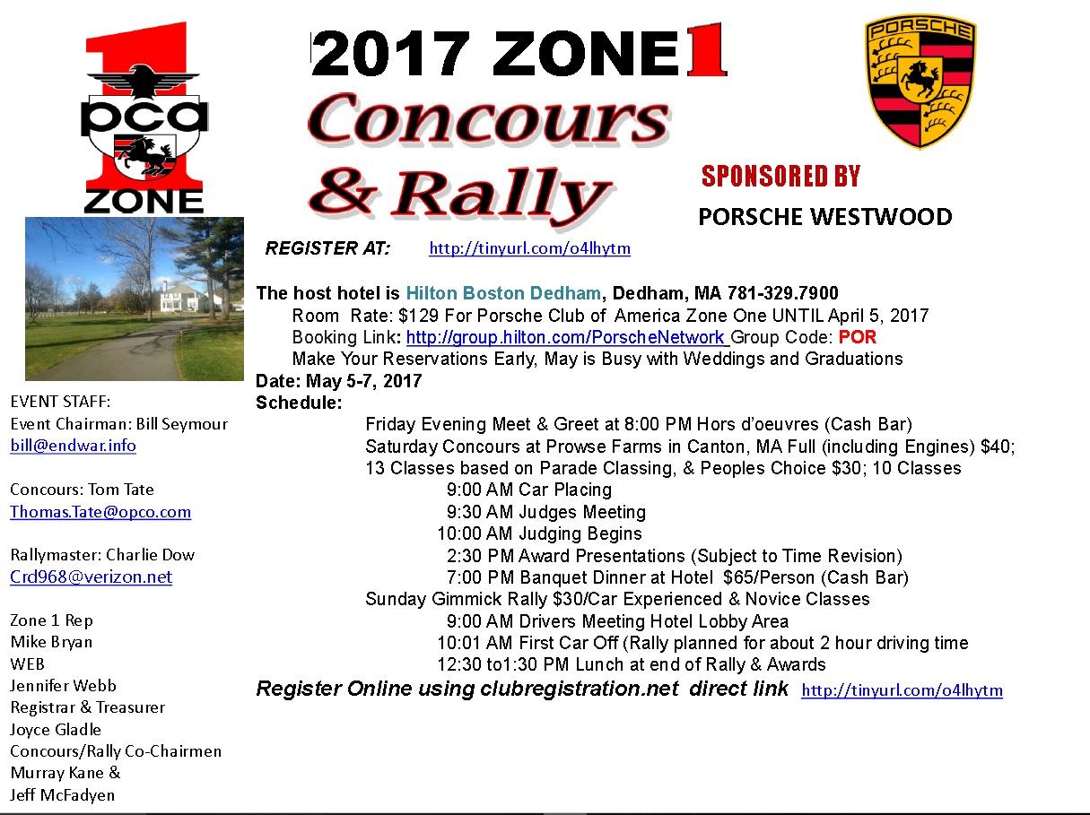 2017 Zone 1 Concours & Rally* @ Hilton Boston/Dedham - Dedham, MA | Dedham | Massachusetts | United States