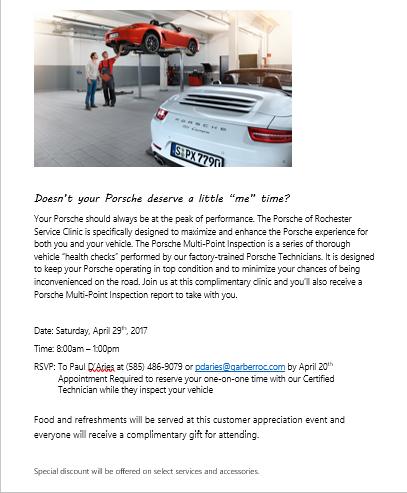 Rochester Porsche Service Clinic*