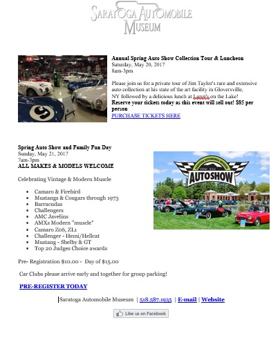 Saratoga Automobile Museum Spring Auto Show Niagara Region - Saratoga auto museum car show