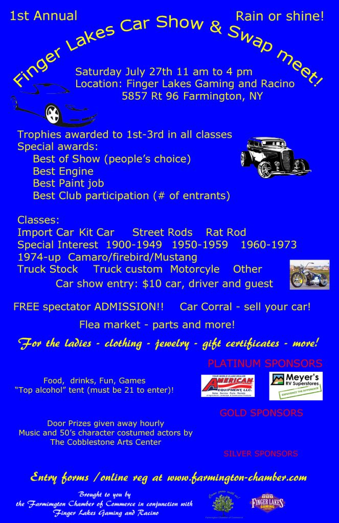 1st Annual Farmington Chamber Car Show and Swap Meet!* @ Finger Lakes Racino | Farmington | New York | United States