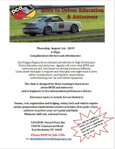 Intro to Driver Education & Autocross @ Ferrari Pizza Bar | East Rochester | New York | United States