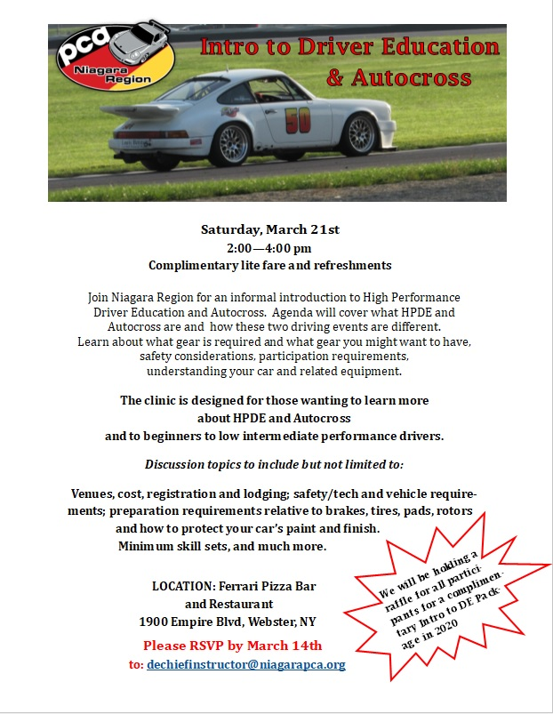 Intro to Driver Education & Autocross - Cancelled @ Ferrari Pizza Bar | Webster | New York | United States