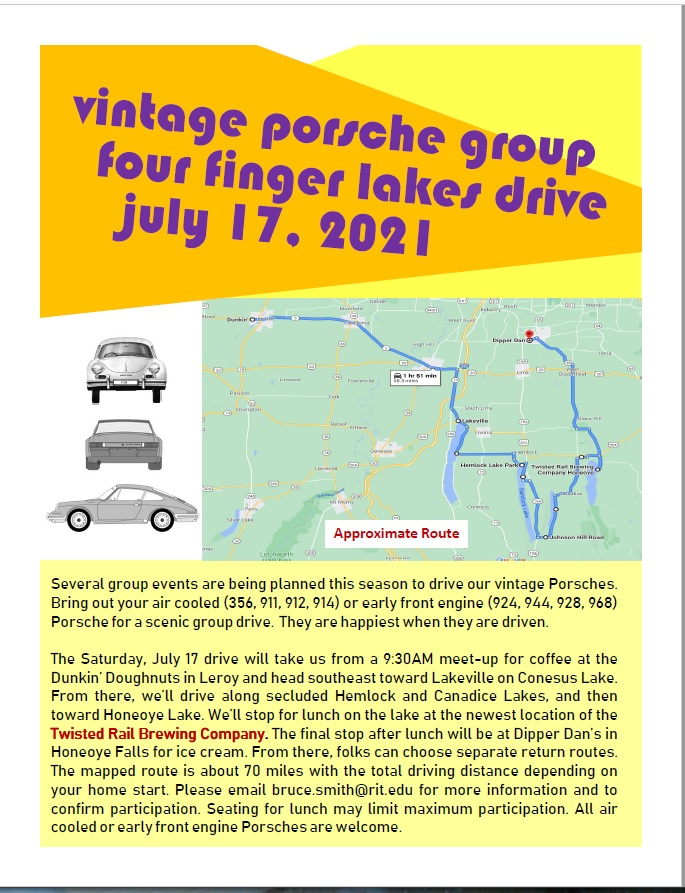 Vintage Porsche Group Drive - Four Finger Lakes - postponed indefinitely @ Leroy Dunkin Doughnuts